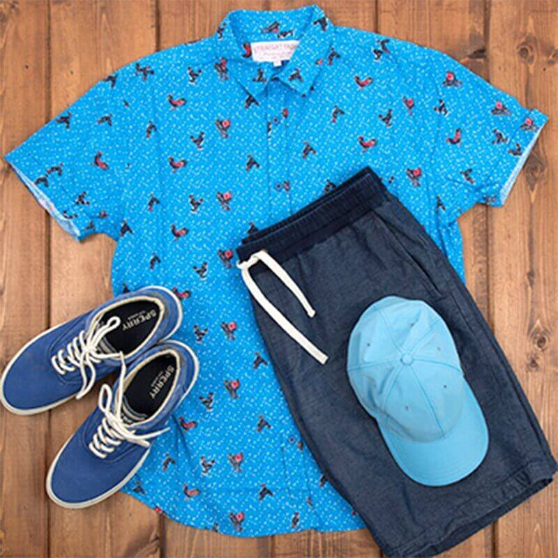 Blue button down shirt with jogger pants.