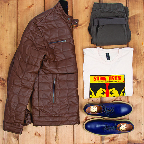 Buffalo Exchange Sell By Mail Men's Outfit Star Trek T-shirt, Quilted Jacket, Jogger Pants, Oxford Shoes.
