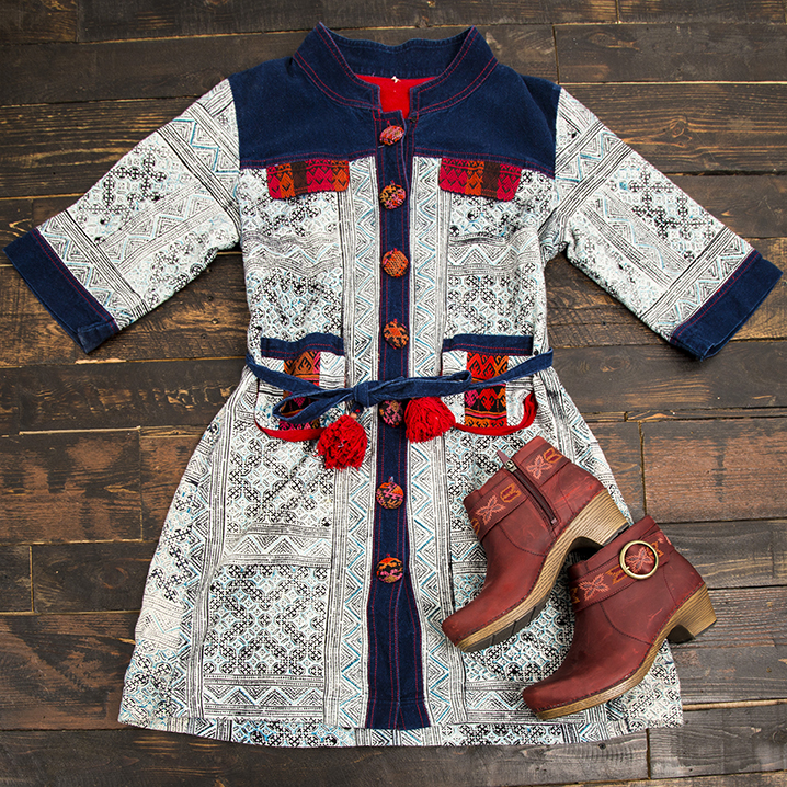 Buffalo Exchange Sell By Mail Women's Outfit Unique Vintage Printed Jacket Dress and Dansko Boots.
