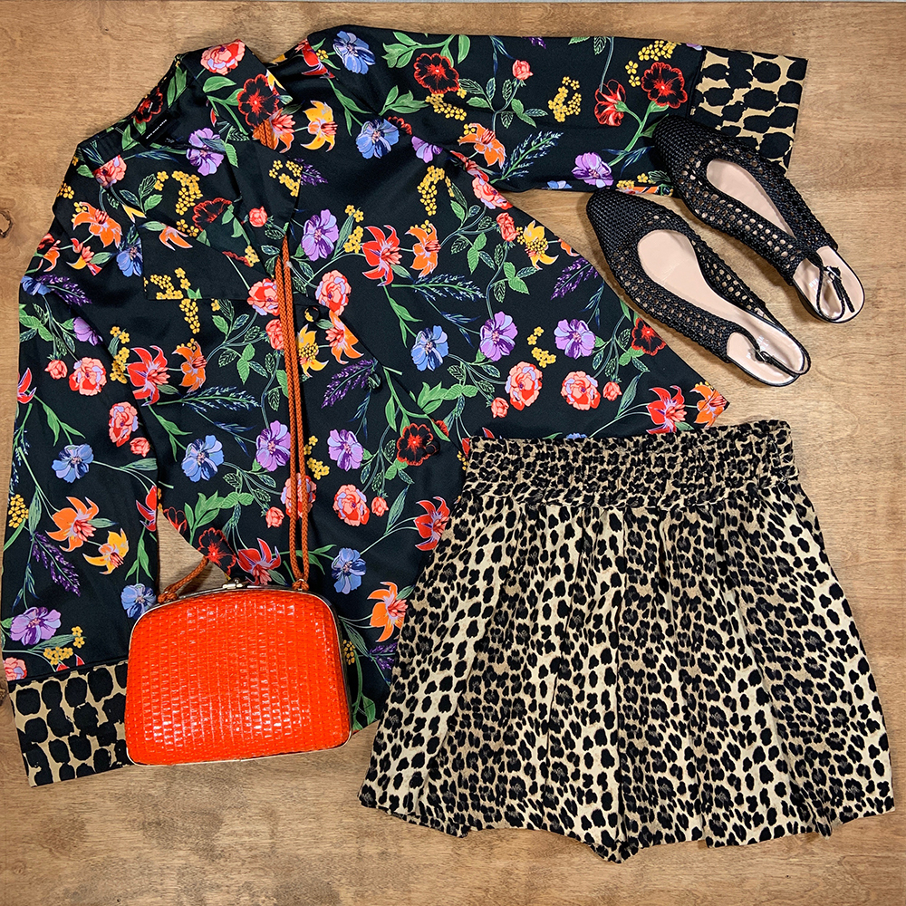 Buffalo Exchange Sell By Mail Floral Blouse, Leopard Print Skirt, Stuart Weitzman Slingback Heels, Vintage Bag.