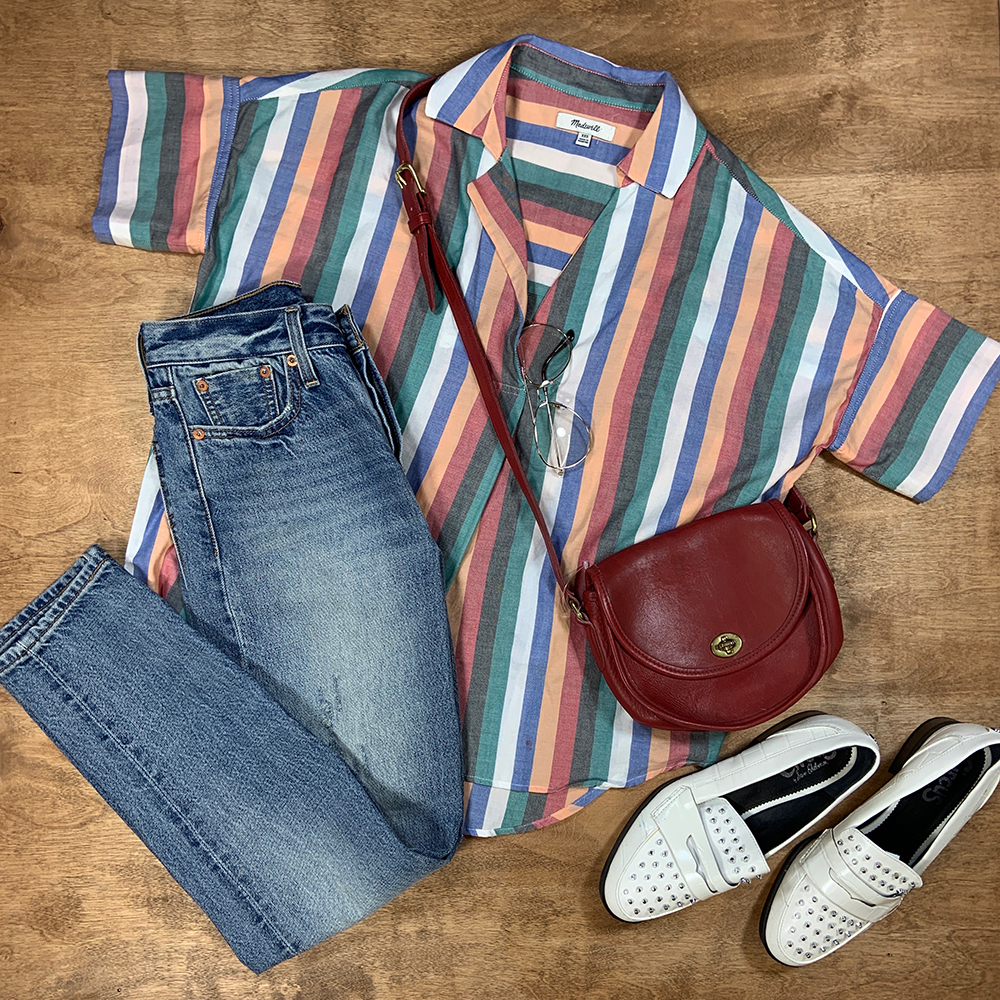 Buffalo Exchange Sell By Mail Striped Madewell Blouse and Jeans, Maroon Coach Bag, Sam Edelman Circus Studded Loafers.